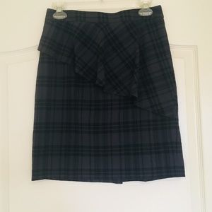 Banana Republic blue plaid ruffle pencil skirt